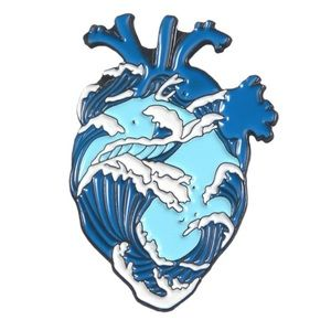 LAST ONE Anatomical Heart Scrub Pin Blue Wave